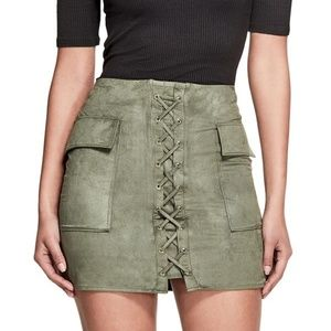 NWT Guess Kelly Suede Lace Up Mini Skirt